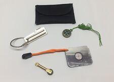 Survival Kit Mini Signal Mirror Brass Flint Striker P51 Military Can Opener EDC