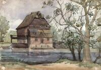 HOUGHTON MILL CAMBRIDGESHIRE Watercolour Painting 1945