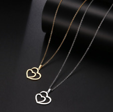 Double Heart Necklace Silver/Gold Origami Pendant 100% Stainless Steal Gift