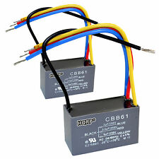 2-Pack HQRP Capacitor for Hampton Bay Fan 3uF+3.5uF+6uF 4-Wire CBB61 Replacement