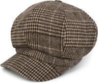 Casquette gavroche avec un motif à carreaux prince-de-galles, casquette de marin