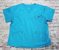 Women's Med Couture E-Z Flex Aqua Blue Size XL Cotton Spandex Polyester Uniform
