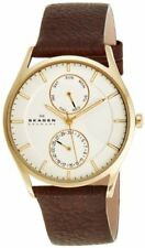 Skagen Men's Holst Chrono Gold Tone Stainless Steel Brown Leather Watch SKW6066