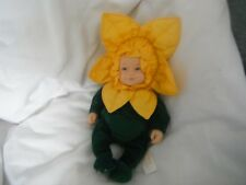 "Anne Geddes Tournesol/Daffodil Baby Beanie collection doll 9"" 1997."