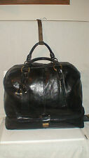 """roots LARGE UNIQUE BLACK ITALIAN  ALL LEATHER TRAVEL 21"""" DUFFEL  BAG $600USD RTL"""