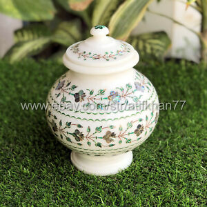 Decorative Flower Pot for Table Centerpiece White Marble Inlay Pietra Dura Art