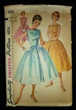 """VINTAGE 1950's SIMPLICITY SEWING PATTERN 1191 LINDY BOP STYLE DRESS - BUST 30"""""""