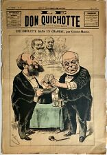 "New Listing1887 'Don Quichotte"" Large French Magazine Cover - Cups & Balls + Politicians"