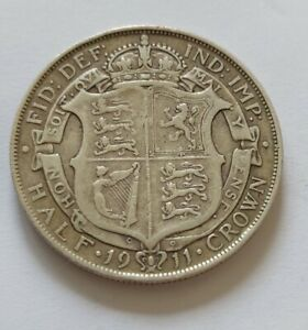 George V Sterling Silver 1911 Halfcrown In Collectable Condition. L26