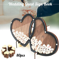 Wedding Guest Drop Double-Heart Signature Reception Sign Book Wood Party   ↑