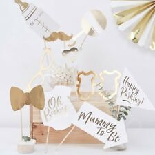 10 Gold Oh Baby Shower Photo Booth Props New Baby Party Photobooth Selfie Props