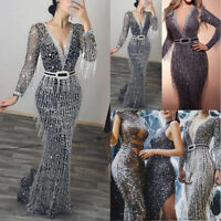 Women Long Sleeve V-neck Bodycon Maxi Dress Formal Evening Party Long Ball Gown