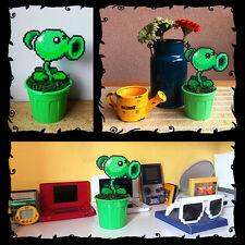 """Peashooter Plants vs Zombies Figure Toy 8 bit Decor in Pot Pixel Art Beads 6.7"""""""