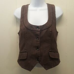 Maurices SMALL Vest Career Lined Fitted Brown Jean Denim Office Work