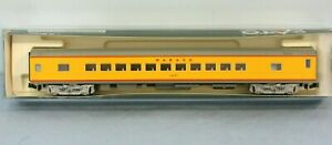 Kato N Scale Passenger Car in Union Pacific yellow paint!  Lettered for Wabash!