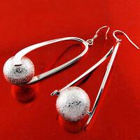 Earrings Real 925 Sterling Silver S/F Ladies Hook Long Bead Ball Drop Design