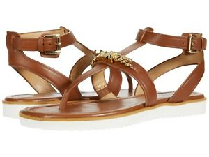 MICHAEL KORS Farrow Thong T-Strap Flat Slingback Sandals Luggage Leather Size 11