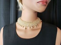 Vintage Pearl and Bead Choker Necklace with Round Shaped Pearl Drops