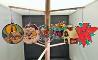 Set of 6 Vintage Real Stained Glass Tree Ornaments Drum Sleigh Church Santa Lg