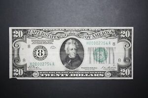 1928 $20 Dollar Bill Low Serial Number 4 digit out of 2,523,300 Notes Printed!