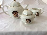 Danbury Mint M J Hummel Stormy Weather 5 PC Porcelain Tea Set in Original Box