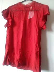 H&M Top With Lace Red Size 4 Same Day Dispatch