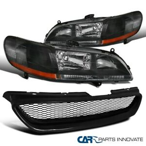 For 1998-2002 Honda Accord 2Dr Coupe Black Headlight+ABS Type Mesh Hood Grille R