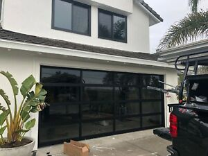 """Black Anodized Aluminum & 1/2"""" Inulated Grey Tinted Glass Garage Door [9'x7']"""