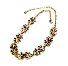 Bijou alliage doré collier créateur Takara strass rouge necklace