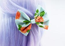 Blue and Orange Roses Print Fabric Hair Bow Handmade Vintage Inspired Hair Clip