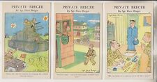 3 VINTAGE POSTCARDS - PRIVATE BREGER - COMIC MILITARY