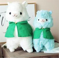 Green Cloak Alpaca Plush Doll Llama Alpacasso Stuffed Soft Sheep Pillow Kids Toy