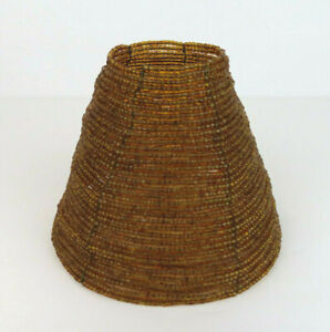 """Beaded Small Lamp Shade Amber Gold brown 5.75"""" wide x 4.5"""" tall, homemade?"""