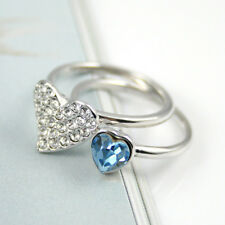 Aqua Blue Heart Stack Rings Made with Swarovski Elements Diamante Heart Rings