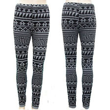 SKULLS or AZTEC KNITTED THERMAL LEGGINGS GOTHIC size 8-10
