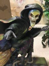 "Jim Shore ""Phantom of Fright"" Heartwood Creek Skeleton Witch on Broom Halloween"