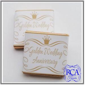 Personalised Milk Chocolate Neapolitan Golden Wedding Anniversary Design Favours