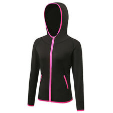 UK Womens Running Workout Hooded Compression Jacket Wicking Coat Long Sleeve Top Black 2xl