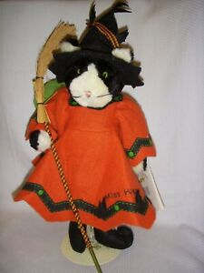 """Bunnies by the Bay Halloween Miss Hiss 13"""" & Leap Roy, cat witch and frog plush"""