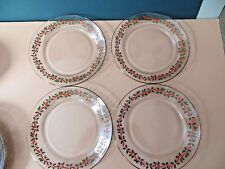 4 Arcoroc/Arbys Glass Holly 8 inch Salad Plates Gold Trim NEW no tags