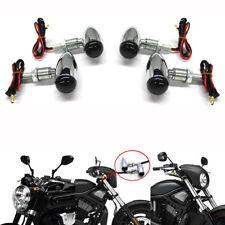 4x Motorcycle Bullet Shaped Metal Turn Signals Indicator Lights Mini Front Motor
