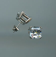 925 STERLING SILVER, 2.25 CARAT 8MM ASSCHER CUT SIGNITY CZ PRONG SET EARRINGS