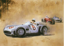 Mercedes Benze W196 1955 Grand Prix de Monaco Stirling Moss Art Carte de vœux