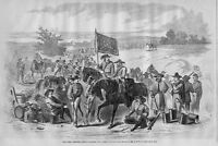 CIVIL WAR FIRST VIRGINIA REBEL CAVALRY AT A HALT 1862 FLAG HORSES SUPPLIES