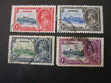 *JAMAICA, SCOTT # 109-112(4). COMPLETE SET 1935 SILVER JUBILEE ISSUE USED