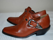 DINGO Cowboy Western Ankle Boots Rust Brown Leather Buckle Womens Shoes  6 Med