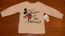 Disney Mickey Mouse Santa Let Me Explain Long Sleeve Shirt 6-9 months NWT