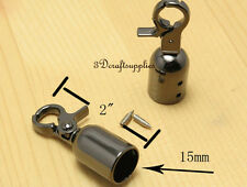 rope Barrier end stopper Cord end caps with hook 1.5 cm gunmetal 6 pieces E23