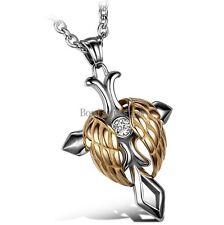 Stainless Steel Angel Wing Celtic Cross Men's Women's Unisex Pendant Necklace