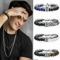 Men Stainless Steel Punk Natural Stone Tiger Eye Beaded Bracelet Bangle Chain
